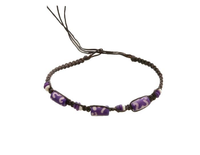 Bracelet bresilien amitie fil tresse avec perles porte bonheur violet om 8140 - Longueur fil bracelet bresilien ...