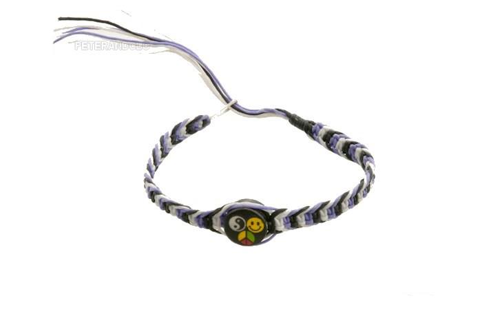 Bracelet bresilien amitie fil de coton tresse porte bonheur smiley rasta 8222 - Longueur fil bracelet bresilien ...
