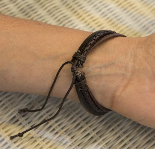 Fils De Et Ruban Bracelet Tresse Multirang Coton Marron Cuir Nmnw0Ov8