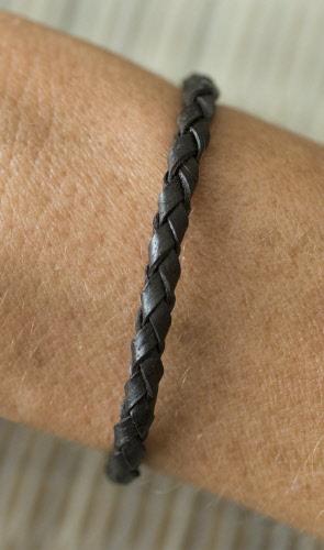 Fait à la Main Noir Large Cuir Véritable Bracelet-Bracelet Réglable