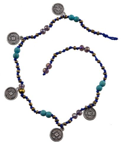 944 Bracelet avec sapeques bijoux ethnique piece chinoise-rouge