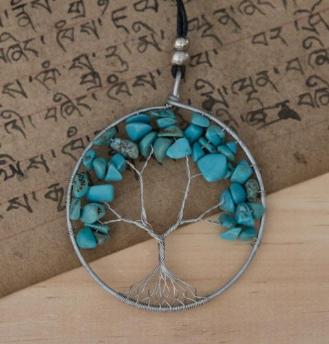 b8f03fc4031 Collier Arbre de Vie -Chakra-Pierre naturelle Bijou ethnique -Turquoise